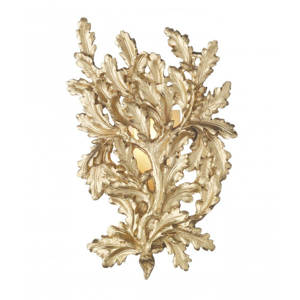 Wall Light Sconce Gold Oak Leaf for Georgian and Regency Lighting