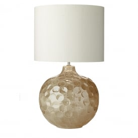 ODYSSEY biscuit coloured ceramic dimpled table lamp with ivory silk shade