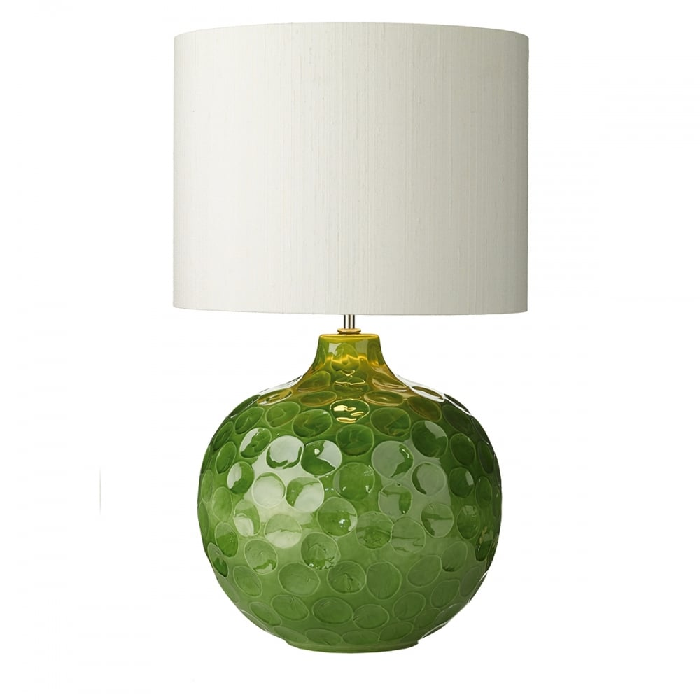 Classic table lamp with dimpled ceramic base and ivory silk shade odyssey green ceramic dimpled table lamp with ivory silk shade aloadofball Images