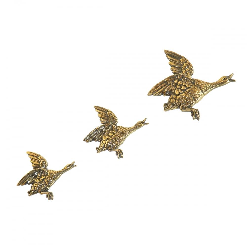 Set Of  Hilda Ogden Flying Ducks Wall Art In Bronze Finish