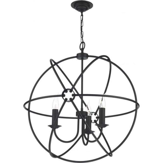 Artisan Lighting ORB 3 light gyroscope black ceiling pendant