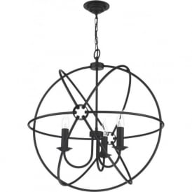 ORB 3 light gyroscope black ceiling pendant