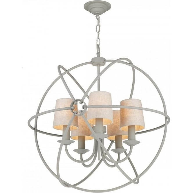 Artisan Lighting ORB 5 light grey gyroscope ceiling pendant with linen shades