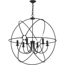 ORB 6 light black gyroscope ceiling pendant light