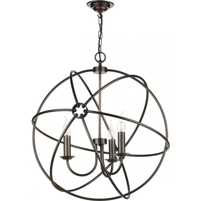 Artisan Lighting ORB gyroscope antique copper ceiling pendant light - 3 light