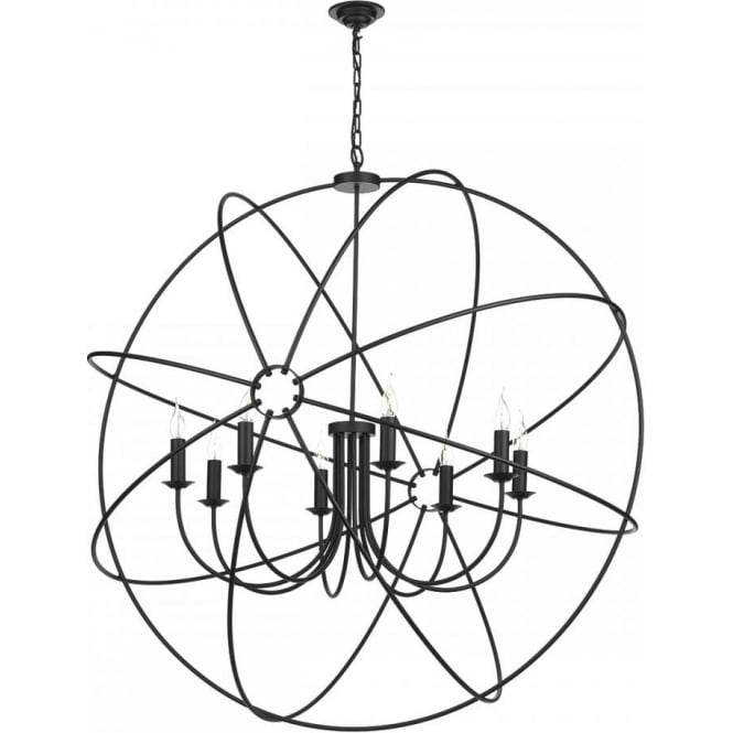 large orb gyroscope ceiling pendant light  black with 8 candle lights