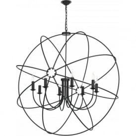 ORB large 8 light gyroscope ceiling pendant in a black finish