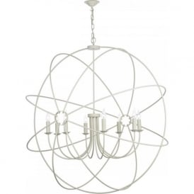 ORB large 8 light gyroscope ceiling pendant in a cream finish