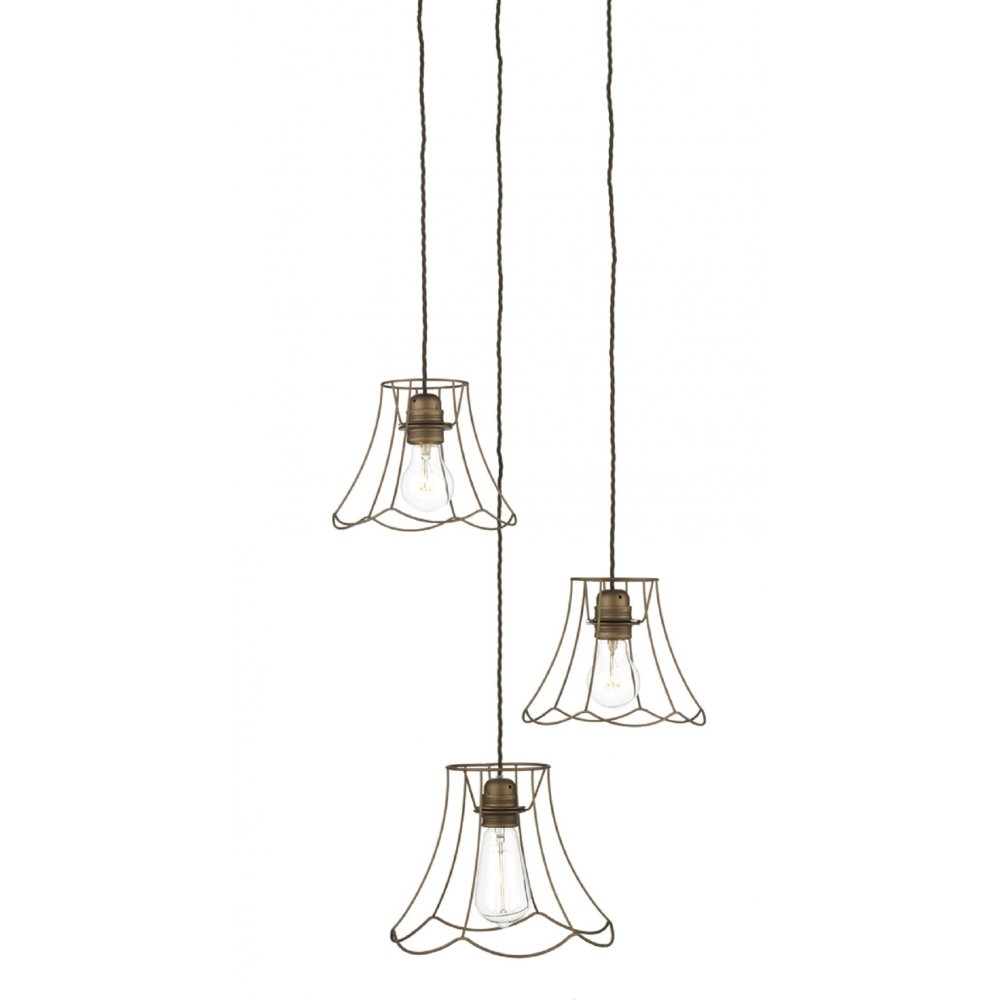 Lamp Shade Cage Ceiling Pendant Cluster Lights On Braided