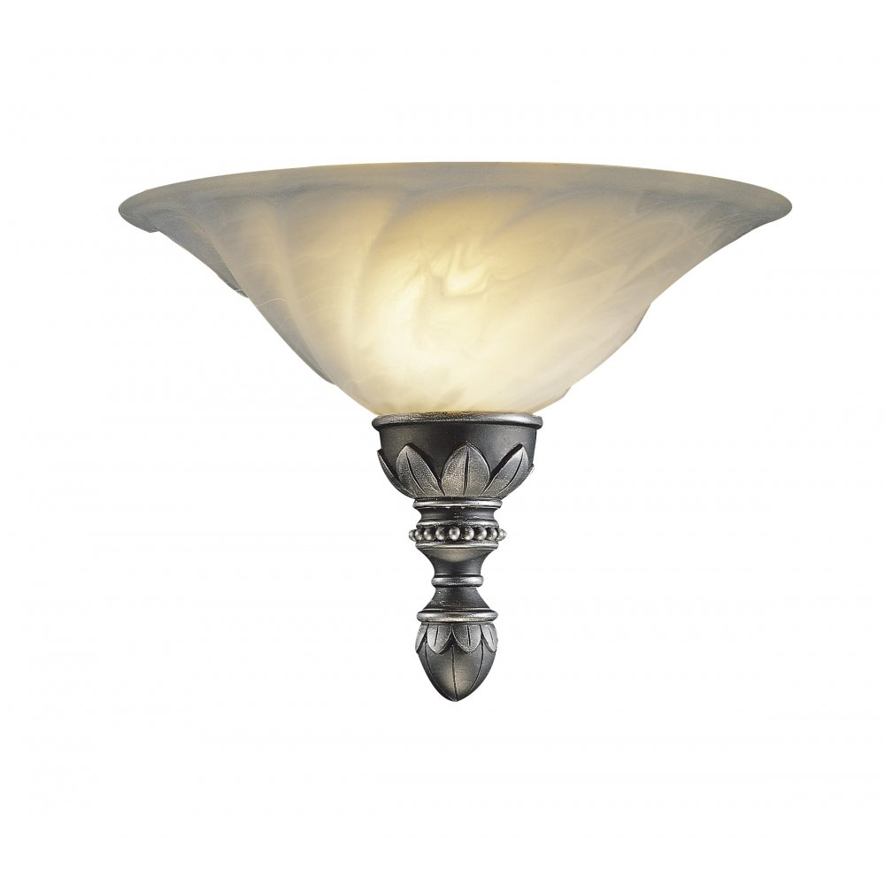 OXFORD Wall Washer Wall Light Traditional Pewter, Marbled Glass Shade