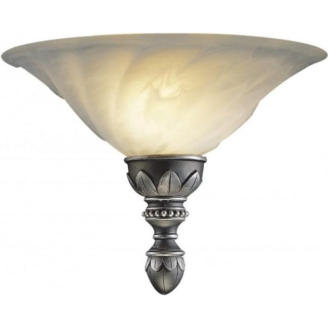 Traditional Wall Lamp Shades : OXFORD Wall Washer Wall Light Traditional Pewter, Marbled Glass Shade