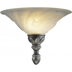 OXFORD traditional antique pewter wall light with marbled glass shade