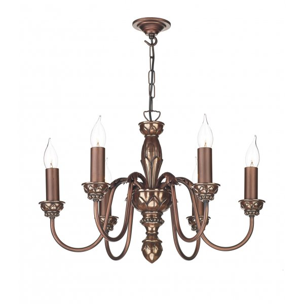 6 Light Copper Ceiling Pendant Light For Tradtional Period