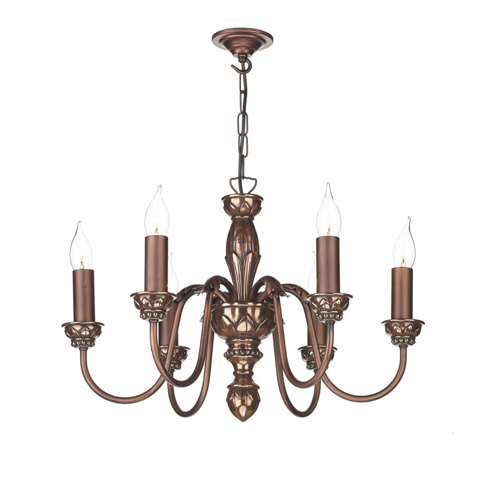 6 Light Copper Ceiling Pendant Light For Tradtional Period Homes