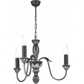 OXFORD traditional pewter ceiling pendant with 3 candle lights