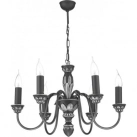 OXFORD traditional pewter ceiling pendant with 6 candle lights