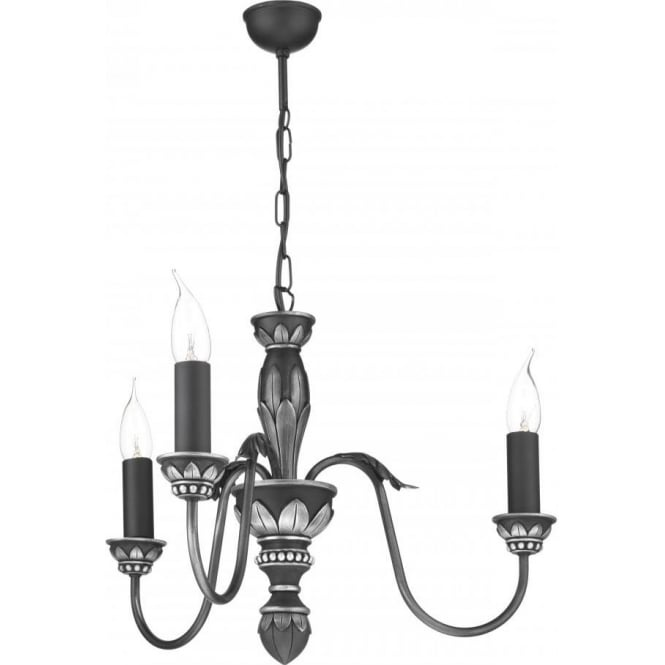 Artisan Lighting OXFORD traditional pewter ceiling pendant with3 candle lights