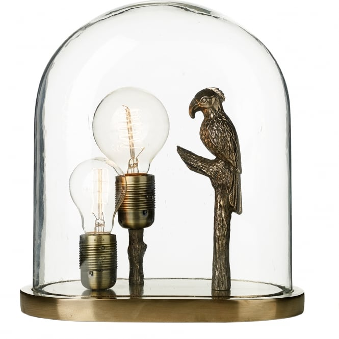 David Hunt Lighting PARROT glass cloche dome table lamp with bronze parrot and two bare bulbs