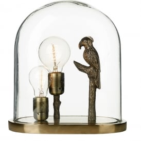 PARROT glass cloche dome table lamp with bronze parrot and two bare bulbs
