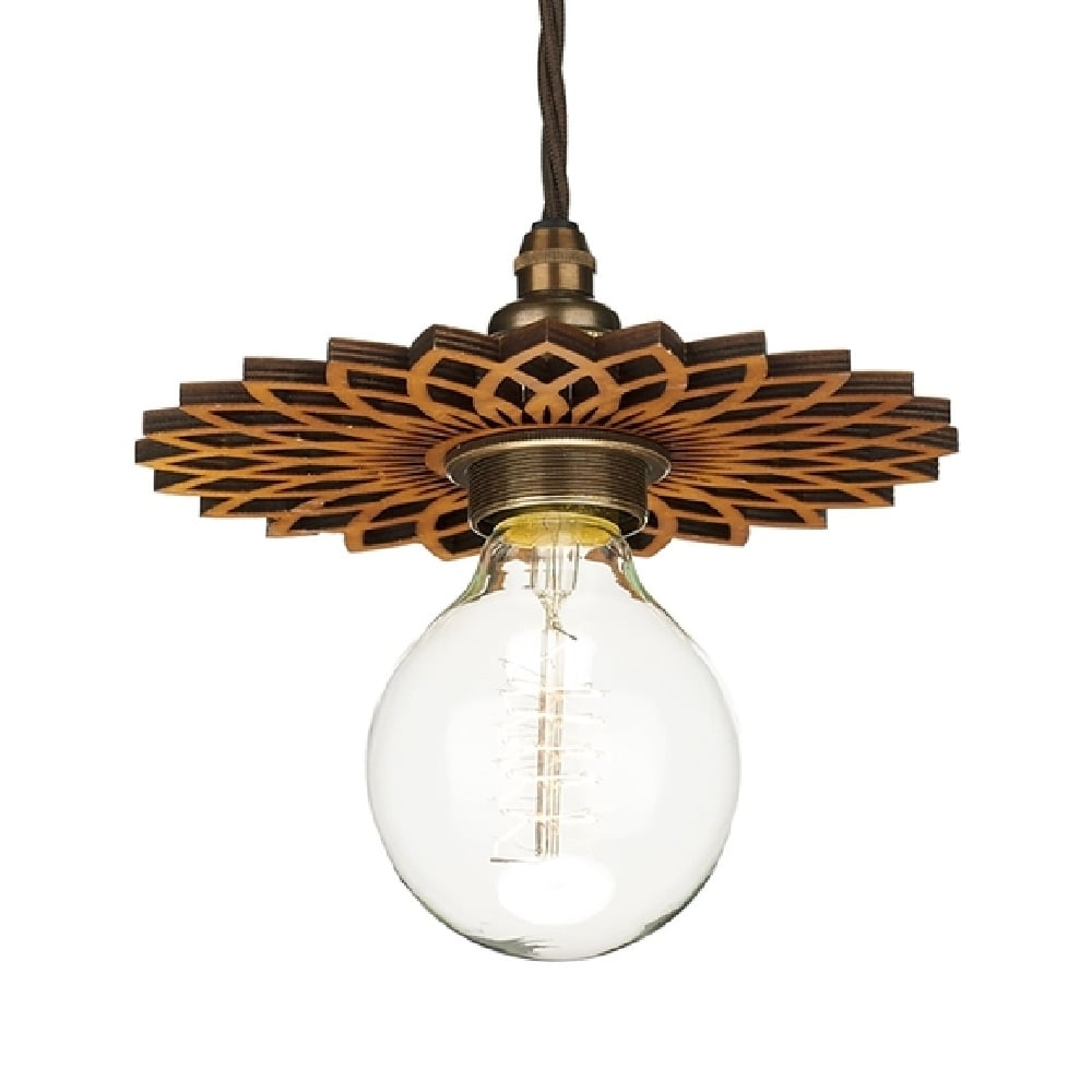 Wooden Star Shaped Shade Fits Easily To Existing Hanging