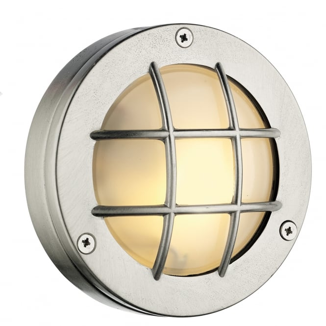 Artisan Lighting PEMBROKE circular nickel bulkhead wall or ceiling light for indoor or outdoor use