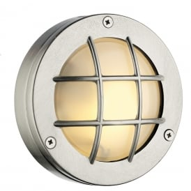 PEMBROKE circular nickel bulkhead wall or ceiling light for indoor or outdoor use