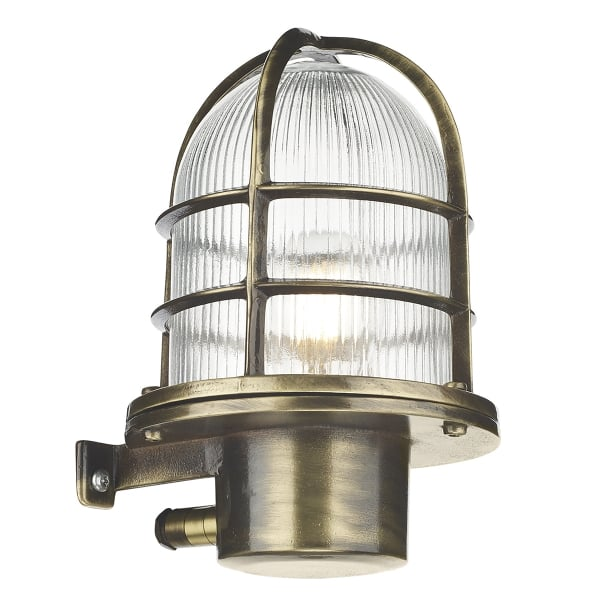 Vintage Industrial Exterior Wall Light: Garden Wall Lantern In Solid Cast Brass With Antique