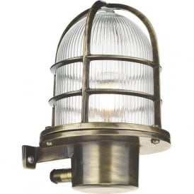 PIER nautical design caged outdoor wall light in antique brass, IP64