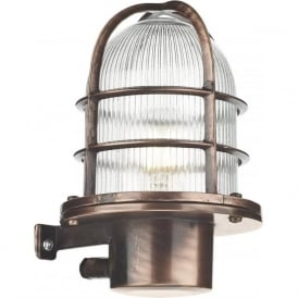 PIER nautical design caged outdoor wall light in antique copper, IP64