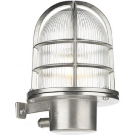 PIER nautical design caged outdoor wall light in nickel, IP64
