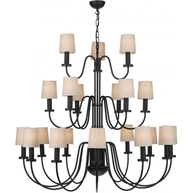 Artisan Lighting PIGALLE large 21 light 3 tier black chandelier with linen shades