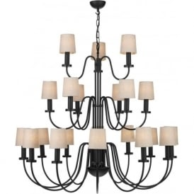 PIGALLE large 21 light 3 tier black chandelier with linen shades