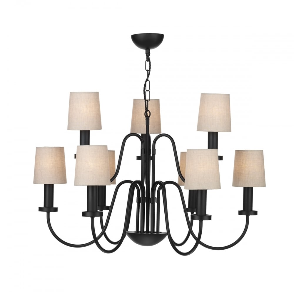 9 light black chandelier traditional wrought iron style linen shades pigalle large 9 light black chandelier with linen shades aloadofball Image collections