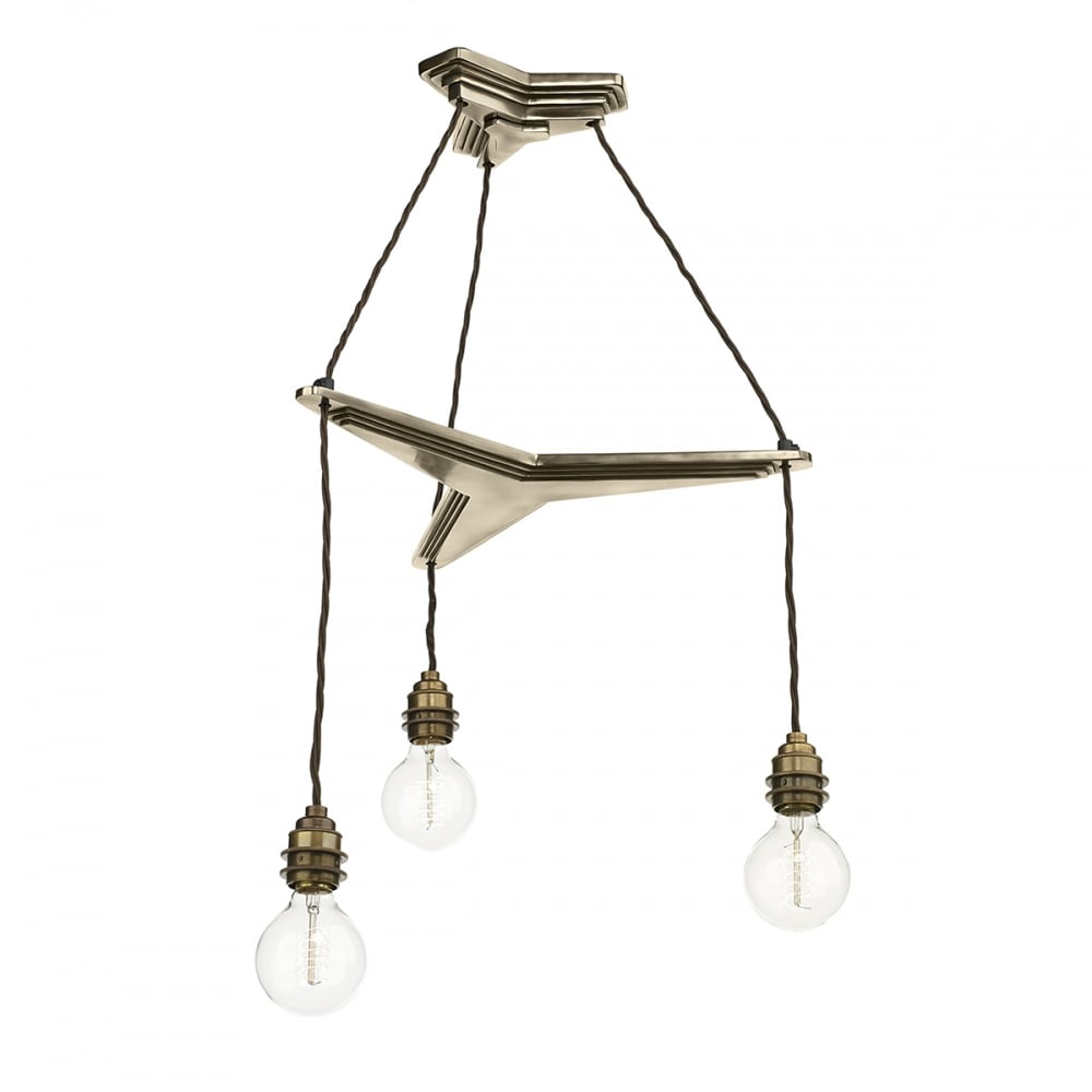 Propellor Cluster Ceiling Light With 3 Bronze Hanging Pendants