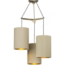 PROPELLOR bronze 3 light cluster ceiling pendant with taupe shades