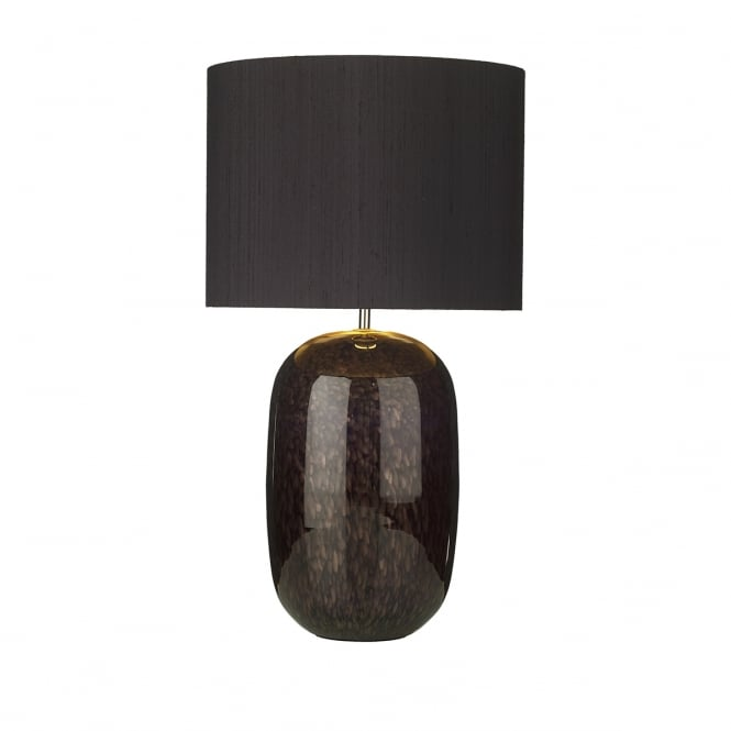 Artisan Lighting PURA black and gold fleck glass table lamp with black silk shade