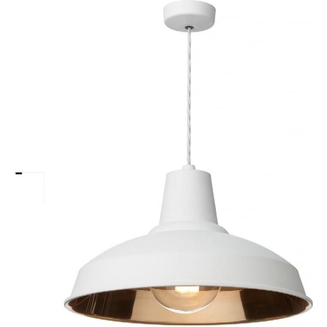 Artisan Lighting RECLAMATION industrial style white metal ceiling pendant with copper lining