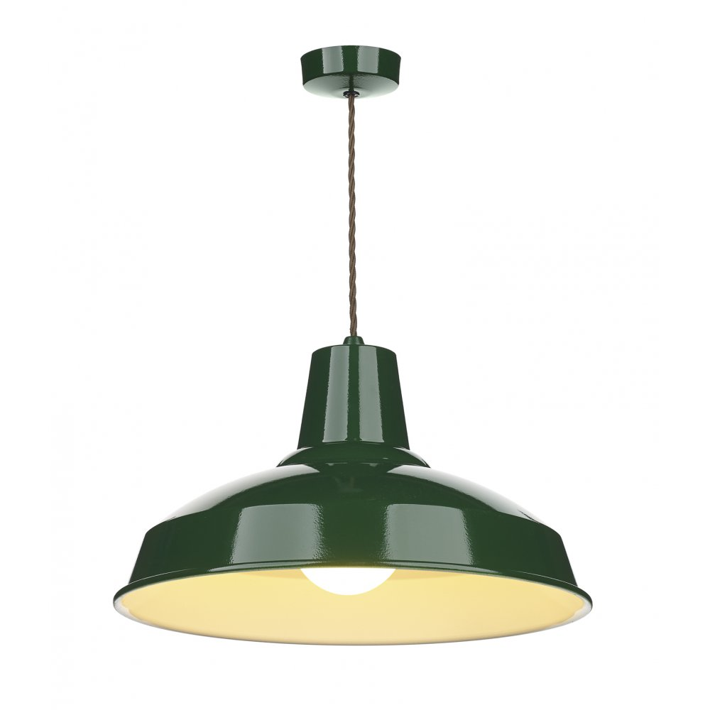 Industrial Retro Style Metal Ceiling Pendant Light In Racing Green