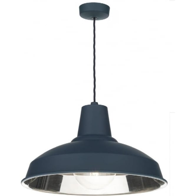Artisan Lighting RECLAMATION retro style smoke blue metal ceiling pendant light with chrome inner
