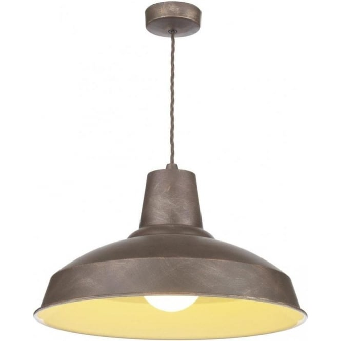 Artisan Lighting RECLAMATION rustic bronze metal ceiling pedant, double insulated