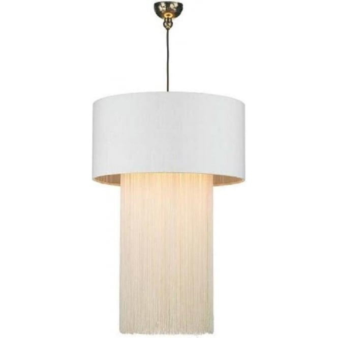Artisan Lighting REMBRANDT bronze ceiling pendant with fringed ivory silk drum shade