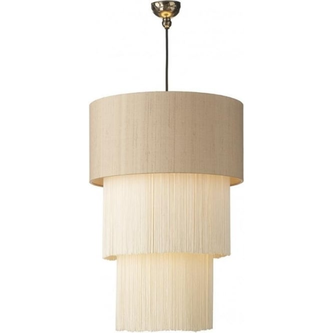 Artisan Lighting REMBRANDT bronze ceiling pendant with fringed taupe silk drum shade