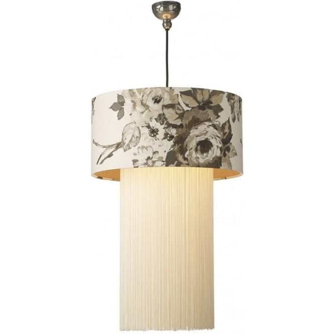 Artisan Lighting REMBRANDT pewter ceiling pendant with floral drum shade and ivory fringe