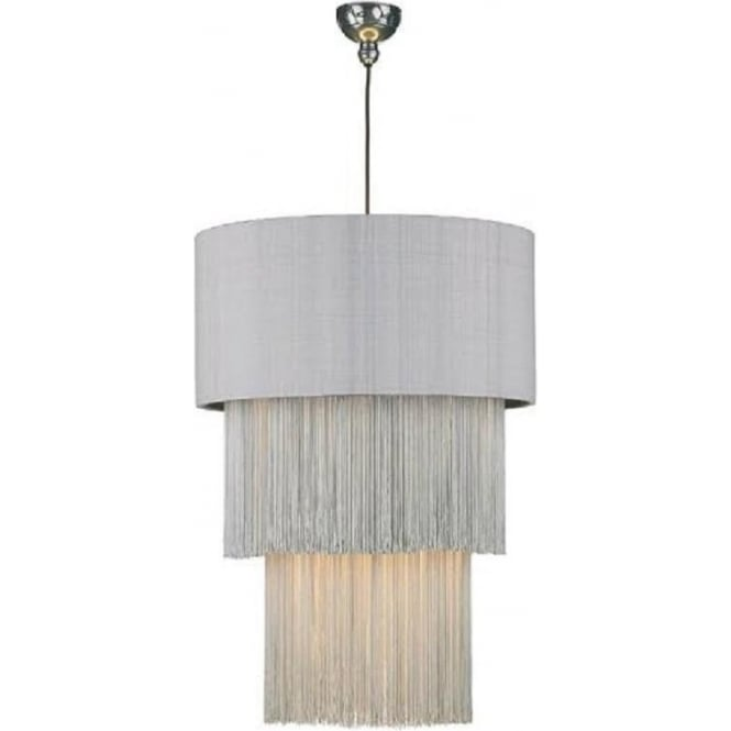 Artisan Lighting REMBRANDT pewter ceiling pendant with fringed silver grey silk drum shade