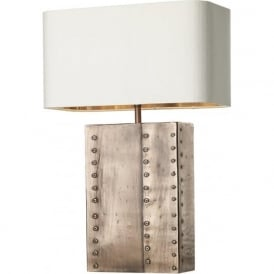 RIVET rectangular copper table lamp with ivory silk shade