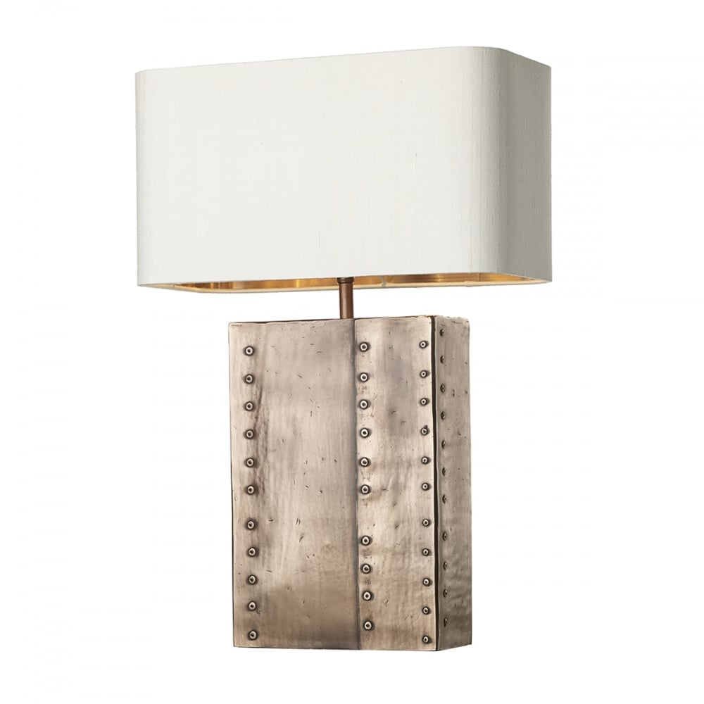 Rectangular Antique Copper Rivet Table Lamp With Ivory