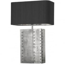 RIVET rectangular pewter table lamp with black silk shade