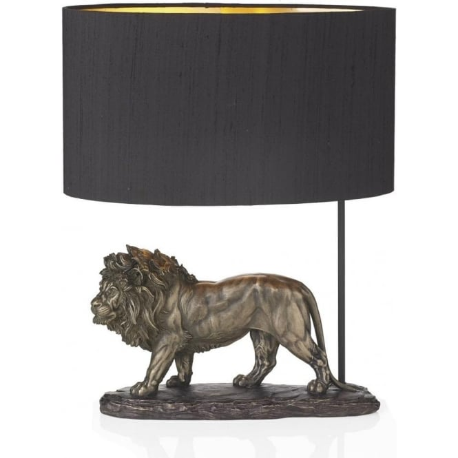 Artisan Lighting ROYAL bronze lion sculpture table lamp with shade