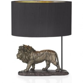 ROYAL bronze lion sculpture table lamp with shade