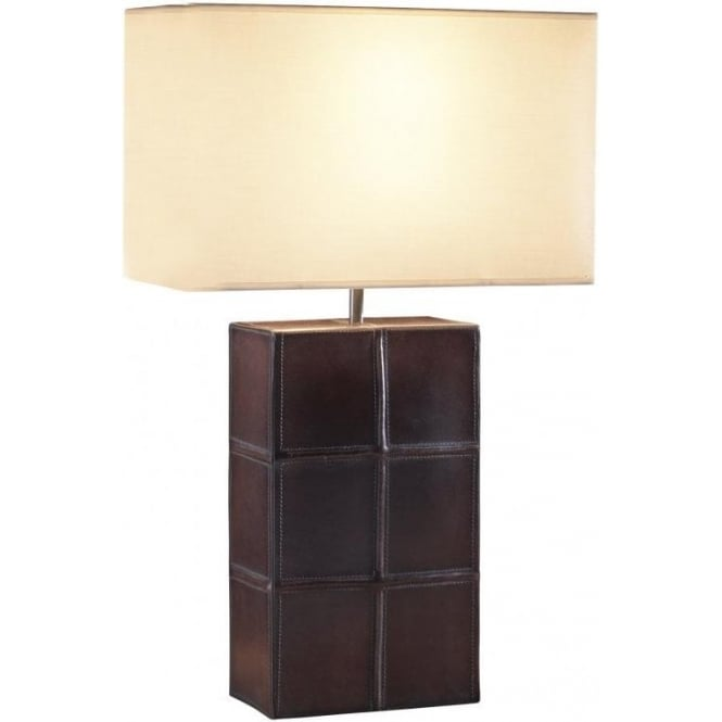 Saddler brown tanned leather table lamp rectangular cream for Brown table lamp shades